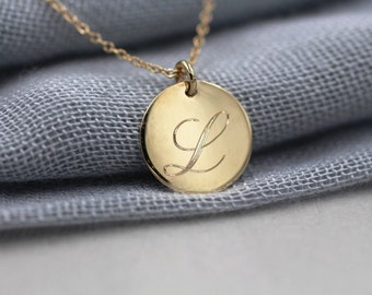 Solid 14k gold personalized necklace initial necklace disc necklace message necklace
