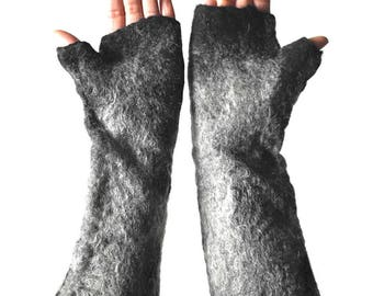 Wolf gloves, warm hand felted animal fingerless cuffs for fancy dress costume accessory in black and natural greys