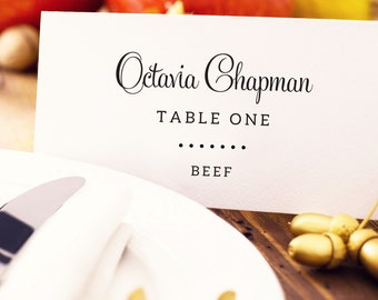 Wedding Place Card With Meal Choice, Place Card Template, Seating Cards, Personalized Seating Card, Wedding Printable, Place Cards Wedding