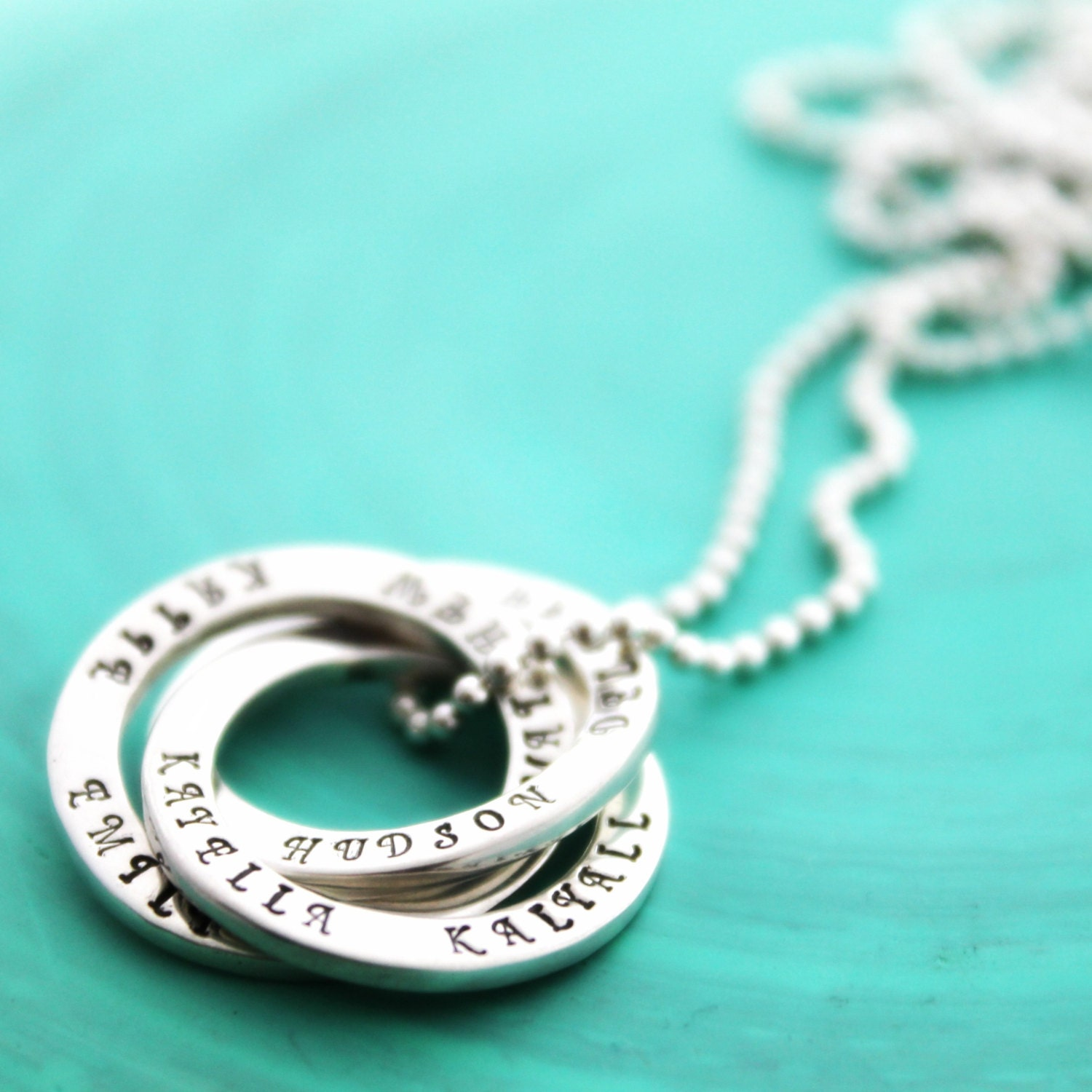 Personalised necklace hand stamped russian rings sterling zoom aloadofball Choice Image