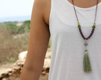 long tassel necklace of czech glass beads / tassel necklaces / beaded tassel necklace / long tassel necklace / necklaces for woman