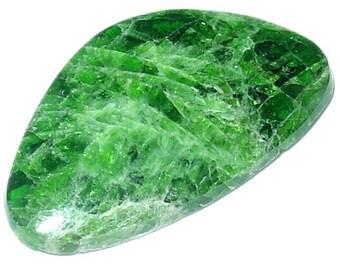 Deep Green Chrome Diopside Cabochon. Siberia, Russia. Extra Quality