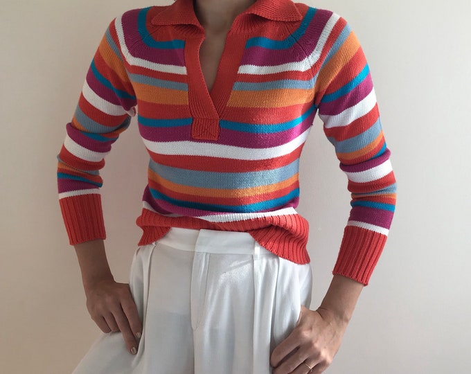 90s Colorful Stripes Polo Knit