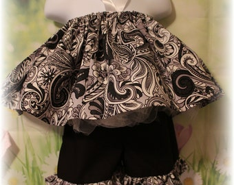 Handmade top and shorts size 1-2T black and white fabric ready to ship toddlers girls babies free shipping cotton head wrap shabby chic