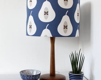 Ink Blue Pear Print Fabric Drum Lamp Shade Lighting Light Shade