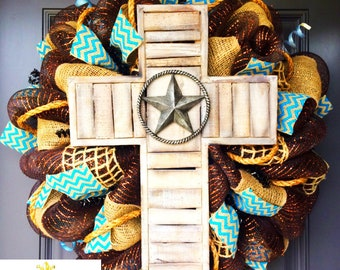 Western Rustic Cross Wreath, mesh wreath, deco mesh wreath, cross wreath, western decor, wreath, front door wreath, year round wreath, cross