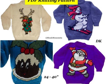 """4 x Childrens & Adults Christmas Jumper Knitting Patterns #12 Rudolph Santa Snowman Pudding PDF Instant Download Xmas 24 - 40"""" Chest"""
