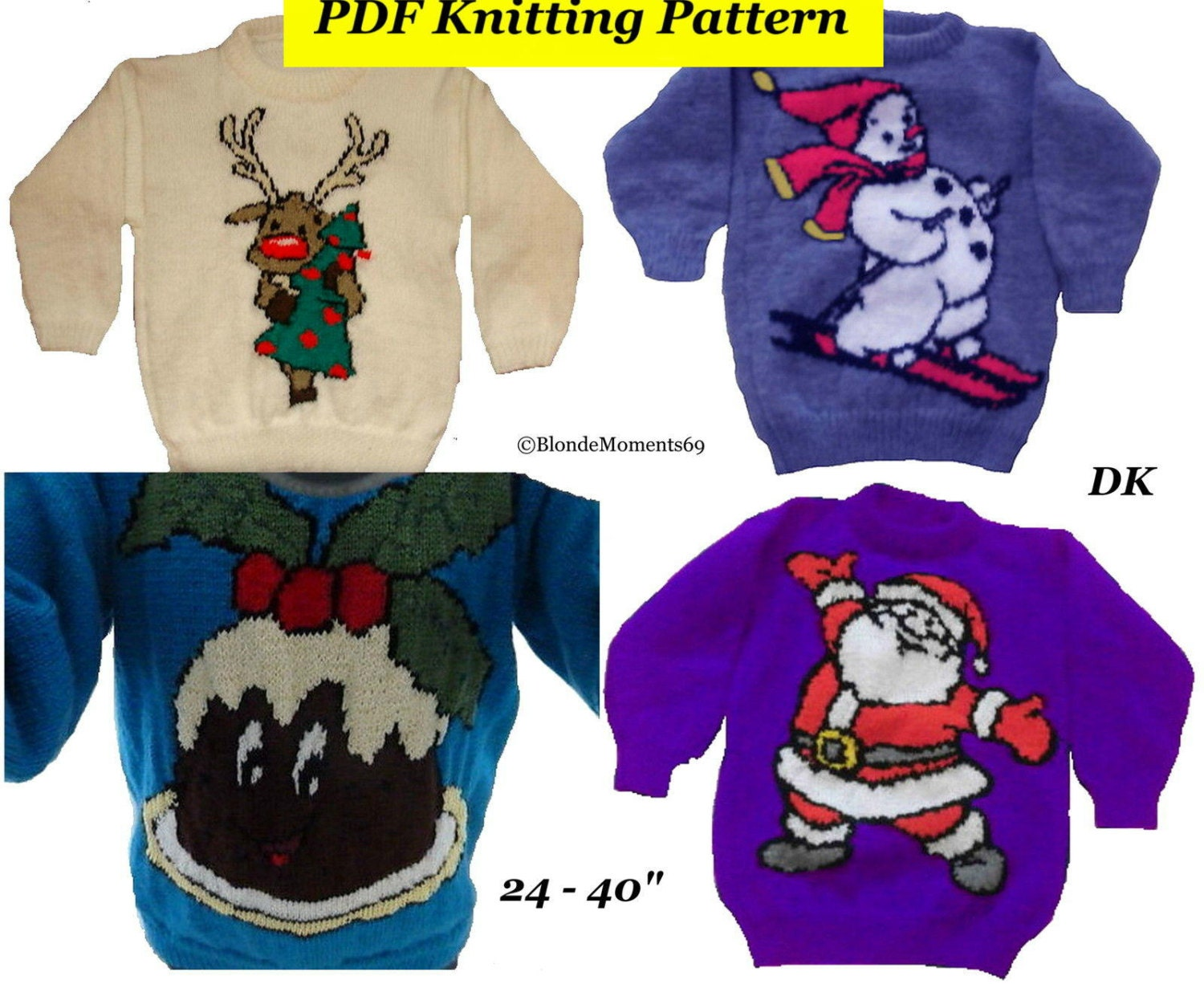 4 x Childrens & Adults Christmas Jumper Knitting Patterns 12