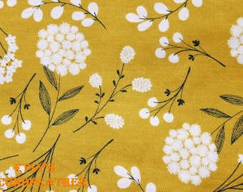 Wild Flowers - 100% Cotton Fabric - Brother Sister Design Studio - Yellow and Gray for Choice - 1 Yard - more for one cut