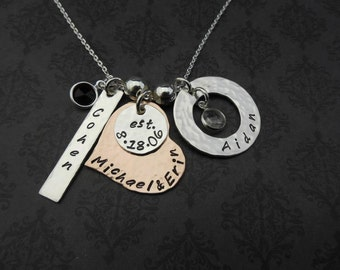 Hand Stamped Jewelry - Custom Personalized Necklace - FAMILY MATTERS Sterling silver and Copper with Birthstones