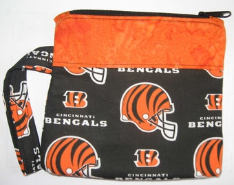 Cincinnati Bengals NFL Football Sports Wristlet Custom Made Embroidered Monogrammed