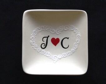 Personalized Ceramic Ring Dish, ring holder- Engagement, Wedding, Anniversary gift