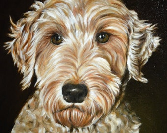 Labradoodle, custom Painting, custom pet Portrait,Commission painting, painting from photo, dog art, personalized pet art, Christmas gift
