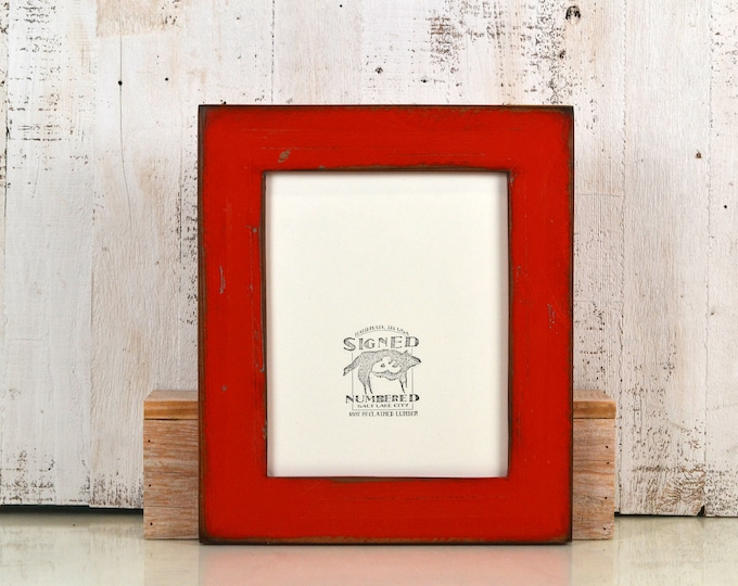 """8x10 Picture Frame in 2.25"""" wide Rustic Reclaimed Redwood with Super Vintage Red Finish - IN STOCK - Same Day Shipping - Rustic Frame"""