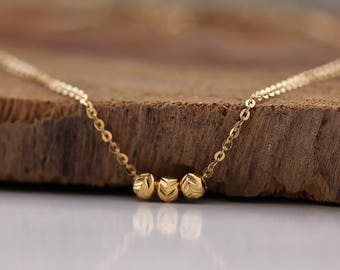 Minimal Gold Necklace, delicate 3 Beads Necklace, 14K Gold filled Necklace, Layering Necklace,  Layered Gold Necklace