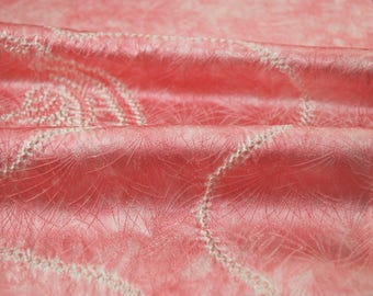 "13.7""w. x 46.7""l. Japanese vintage silk kimono fabric flower in pink shibori 3103A"