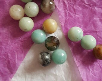 Natural 10 mm, 5 Amazonite beads. (8155624)