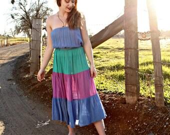 JEWEL Vintage 1970's Strapless Sundress Multi Color Dress Gauzy Cotton