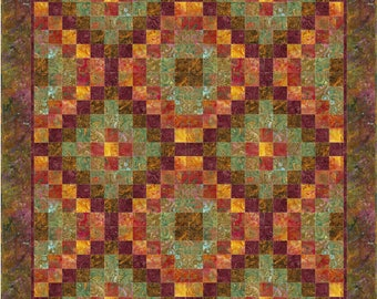 Six by Six Trip Quilt Pattern, 4873-3, Lap Pieced Quilt pattern, rust lap quilt, pieced lap quilt