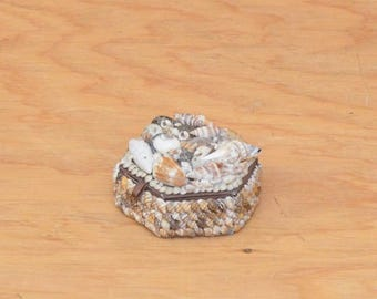 Vintage Octagon Sea Shell Jewelry Box, So Romantic And Beautiful
