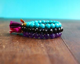 Mala Bracelet Stack Turquoise, Tourmaline, and Amethyst Beaded Gemstone Bracelet Set Tassel Bracelet Spritual Jewelry Yoga Beads Meditation