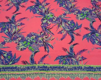Cotton dobby fabric squares and pieces 6 X 6, 9 X 18 or 18 X 18 inches Tiki Pink Out On A Limb / pieces ~Lilly Pulitzer~