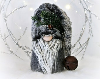 Gray Woodland Fur Nordic Gnome, Tomte, Nisse, Gnome, Scandinavian Gnome, Vidhur