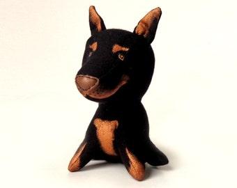 Doberman pinscher toy plush toy dog soft toy dog Stuffed Animal dog black doberman-5 inch