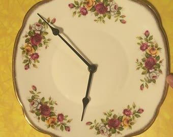 Vintage Clock Plate Floral Shabby Chic Decor
