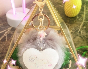 Resin Heart Pom Pom Keychain