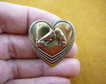 Nipper dog and phonograph dogs lover filigree Victorian BRASS pin pendant brooch B-DOG-106