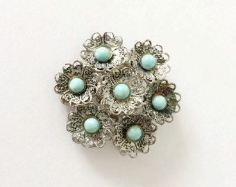 Vintage Brooch with Turquoise Colored Cabochons