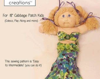 """Cabbage Patch Mermaid Outfit Digital Sewing Pattern for 18"""" CPK or Similar 18 inch Doll Easy Downloadable Digital PDF 27 page Color E-Book"""
