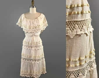 1970s Gauze and Crochet Off the Shoulder Dress / 70s Flutter Sleeve Capelet Dress / Vintage Crochet Festival Dress