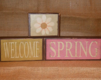 Welcome Spring Stacking Blocks. Spring Decor