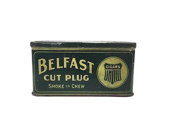 Antique Belfast Tobacco Tin Vintage Belfast Cut Plug Green Tobacco Cigar Tin Belfast Cigar Tin Antique Tobacco Tin Green