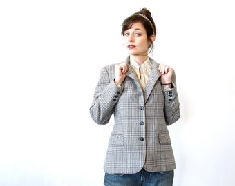 Vintage Blazer . 80s Plaid Pendleton Style Fitted Blazer. Size Medium
