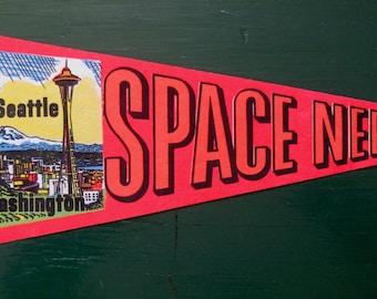 """Souvenir Pennant Space Needle Seattle, Washington c. 1960s Neon Colors Bright Orange 19"""" Long"""