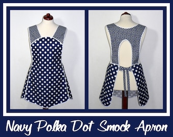 Retro 50s Smock Apron - Navy Blue and White Polka Dot Hostess Apron - all day apron, made-to-order XS to Plus Size, no neck ties (H-back)