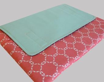 Laptop Sleeve, Tablet Case, Laptop Cover, Tablet Sleeve, Laptop Case, Tablet Cover, up to 13 Inch - Mint Coral