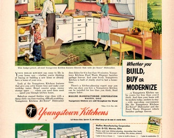 1950s Youngstown kitchens vintage magazine ad decor wall decor