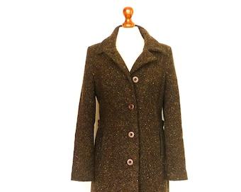 Vintage Women Coat Wool Alpaca / Dark Brown Chocolate / Thick Warm Winter Coat / Buttoned / Fitted / medium