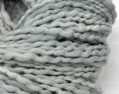 Handdyed Yarn, Light Grey, Blue Grey, Bulky yarn, Thick n thin, Soft, Wool, Wall hanging, Knitting, Weaving, Scarf Yarn, Yospun, Fiber