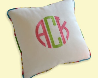 custom embroidery monogram pillow white sunbrella multicolor indoor outdoor linen cotton boat