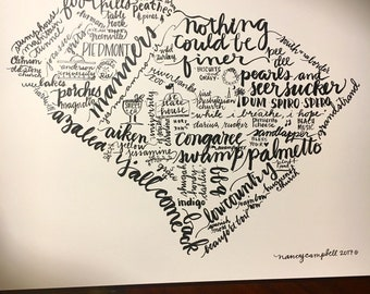 "SC wall art print of hand-lettered South Carolina words Palmetto State ""nothing could be finer"""