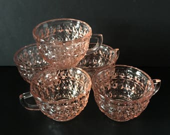 Jeanette Glass ~ Holiday Pink ~ Buttons and Bows ~ Set of Five Cups ~ Vintage