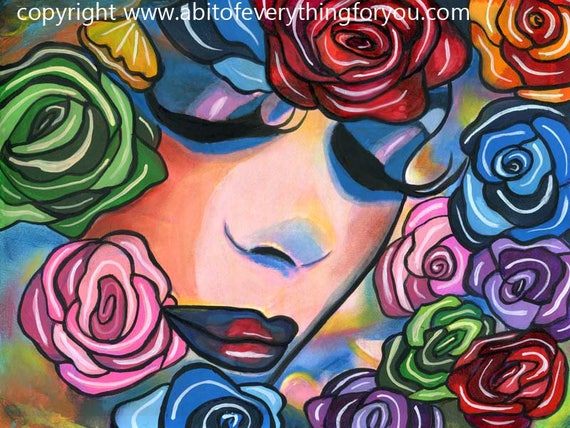 Lady Roses face flowers abstract original art painting modern surreal woman colorful makeup beauty artwork