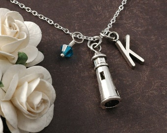 Lighthouse Necklace, Initial birthstone, Silver lighthouse jewelry, lighthouse charm necklace