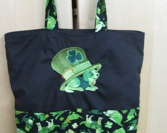St Patricks Day Dog and Hat Eco Friendly Tote, Purse, Bag