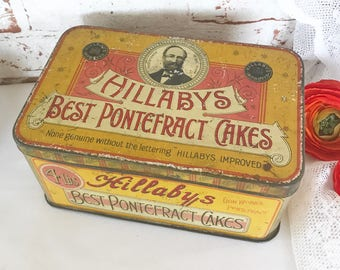 Antique Hillabys Tin Litho Box, Vintage advertising Pontefract Cakes Candy Display Canister, Decorative rustic primitive kitchen storage